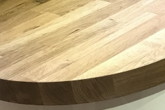 Wood grain worktop with rounded end