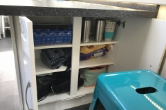 Under breakfast bar storage